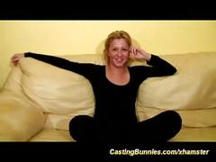 Blonde french casting chick trys her first anal