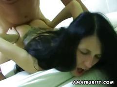 Threeway fuck with amateur big tits slut