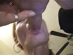 Messy deepthroat and gagging, finger in ass