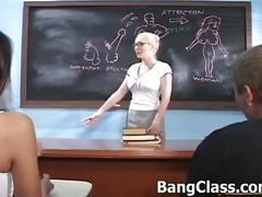 Innocent teacher gets seduced by a student couple
