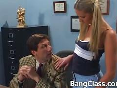 Horny coach fucks a naughty cheerleader at school