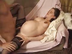 French pregnant babe gets fucked