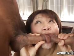 Lovely asian sucks two cocks and gets banged