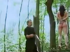 Hanged by the boobs in the forest