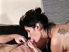 Sexy, pregnant brunette takes a cock in her pussy, cum on her face