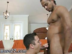 Straight guy sucking on a big black dick for money.