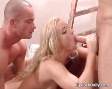 Hot blonde gets double fucked by two