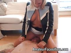 Sandie caine punishes a guy with her pussy