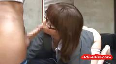 Hot office lady with glasses licked fingered sucking...