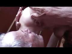 Mature cuckold husband eats fucker creampie