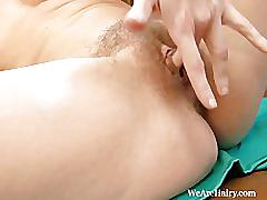 Hairy girl chloe r plays with herself