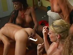 Three hot bdsm milfs ream dude's ass with strap-ons