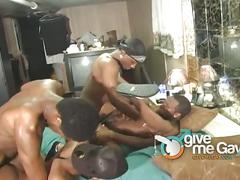 Hot group-sex with sexy and horny black studs.