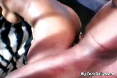 Busty ebony slut loves black big cock