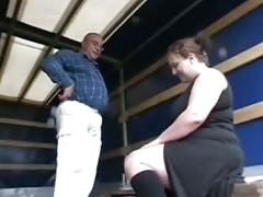 Horny fat bbw girl sucking older cock for money