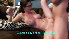 Busty amateur rides reverse cowgirl