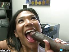 Emy reyes sucks huge black cock