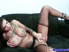 Busty lezdom babe strapon anal drills tattood dyke