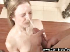 Horny blond sucking off her boyfriends hard dick
