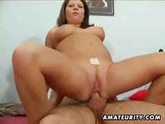 Busty amateur girlfriend sucks and fucks with cumshot