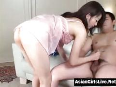 Hot asian wife massage her cock husband
