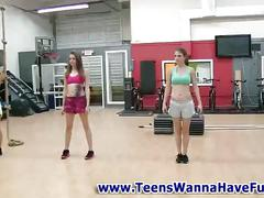 Amateur teen babes in the gym