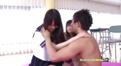 Schoolgirl giving handjob for guy while her shy...