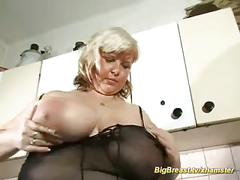 Massive boobs in fishnet