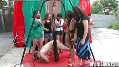 Amateur babes try out sex positions on sex swing in...