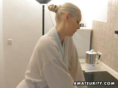 Blonde amateur girlfriend kitchen fucked