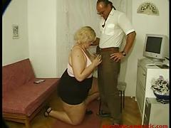 Fat blonde woman fucks guy