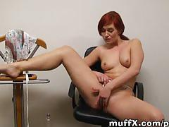 Hot redhead play game of wet shirt