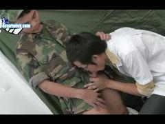 Horny doctor sucking asian twink in uniform