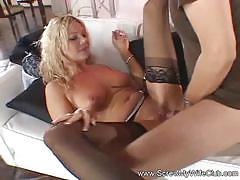Swinger milf gets fucked in front of her hubby.