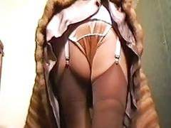 Fur coat girdle and satin panties