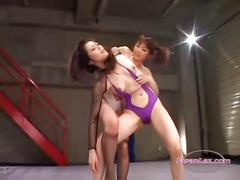 2 asian girls fighting stimulating and fucking each...