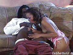 Horny black girl misty stone fucks a monster cock.