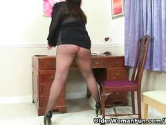big tits, masturbation, mature, british, olderwomanfun, milf, uk, brunette, glasses, amateur, stockings, big-boobs, solo-girl, teasing, stripping, masturbate, pussy-rubbing, pantyhose, fingering
