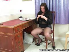 big tits, masturbation, mature, british, olderwomanfun, milf, uk, brunette, glasses, amateur, stockings, big-boobs, solo-girl, teasing, stripping, masturbate, pussy-rubbing, pantyhose, fingering