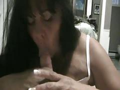 Cute chubby chic plays with cock