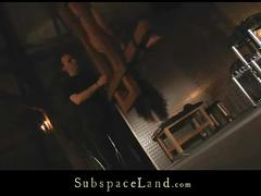 Vicky suck dick tied up and suspended by a cross
