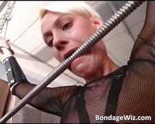Hot busty blonde sucks on guy hard dick