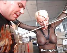 Hot busty blonde sucks on guy hard dick