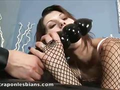 Role playing lesbians fuck with a huge strapon