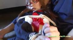 Schoolgirl bondaged getting her tits rubbed pussy...