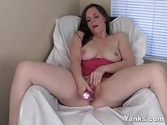 Busty brunette wednesday toying her wet pink twat.