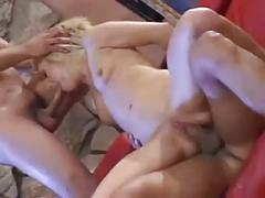 Hot blonde babe is double dicked