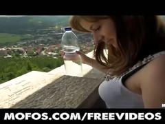 Sexy amateur czech student is paid for public sex