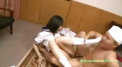 Schoolgirl getting her pussy fucked on the couch and...