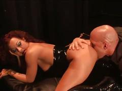 Devilish brunette whore in latex hardcore pussy hammering fuck